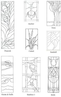 stained glass designs - peacock anchor bamboo birds seashell waves seagulls cattail