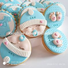 Baby Shower Snacks, Baby Shower Souvenirs, Fiesta Baby Shower, Baby Shower Cupcakes, Fondant Baby, Fondant Cupcakes, Cupcake Cakes, Fancy Cookies, Valentine Cookies