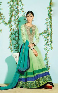 LIGHT GREEN GEORGETTE ANARKALI SALWAR KAMEEZ - SLF 9650