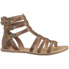 maurices Darma 3 Buckle Gladiator Sandal ($34) ❤ liked on Polyvore featuring shoes, sandals, brown, flats, maurices, brown flats, greek gladiator sandals, gladiator shoes, flats sandals and flat shoes