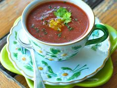 Andrew Zimmern's Gazpacho | Andrew Zimmern adds Worcestershire sauce and herbs to his gazpacho, giving extra layers of flavor to the classic chilled soup.