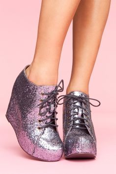 OMG don't ask me why but I'm totally in love with these!!!!!!  99 Tie Wedge - Pewter Glitter Style #: 10019  $118.00