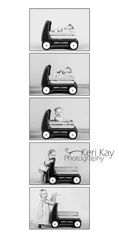same baby wagon at newborn, 3,6,9,12 months!  SO cute! #photography #baby