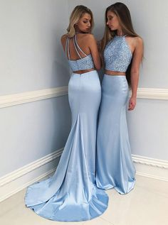 Two Piece Jewel Sweep Train Blue Satin Open Back Prom Dress with Beading   twopiecedress   d9701c3b99e0