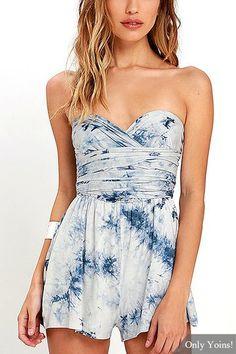 05f5584b5f9 Blue Tie-Dye Convertible Playsuit. Dressy DressesJumpsuits For  WomenPlaysuit RomperRuffle ...