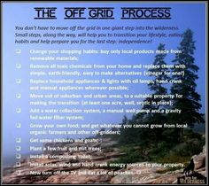Off the grid process