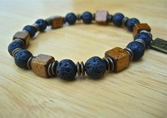 Men's Courage and Peace Bracelet with Black Lava by tocijewelry