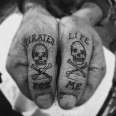 What does pirate tattoo mean? We have pirate tattoo ideas, designs, symbolism and we explain the meaning behind the tattoo. Thumb Tattoos, Knuckle Tattoos, Finger Tattoos, Trendy Tattoos, Love Tattoos, Body Art Tattoos, New Tattoos, Hand Tattoos For Men, Temporary Tattoos