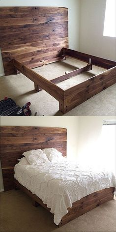 Simple DIY platform bed in solid walnut. So pretty!