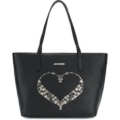Love Moschino studded heart tote (740 BRL) ❤ liked on Polyvore featuring bags, handbags, tote bags, black, handbags tote bags, tote hand bags, studded tote bag, studded purse and heart handbag