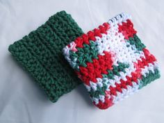 Set of 2, Christmas dish cloths, wash cloths, Christmas decorations, kitchen and dining , red and green, holiday decorations by Purplecatzcrochet on Etsy