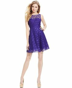 Betsey Johnson Sleeveless Illusion Polka-Dot Dress - Dresses - Women - Macy's