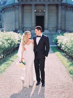 "Stunning glamorous wedding dress and couple (Karen Willis Holmes ""Anya"" gown)"