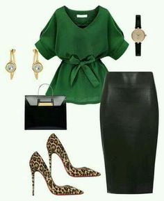 Green blouse, Black pencil skirt, Leopard shoes and Gold accesories - Work Outfit Classy Outfits, Chic Outfits, Fashion Outfits, Womens Fashion, Work Fashion, Fashion Looks, Style Fashion, Color Fashion, Fashion Beauty