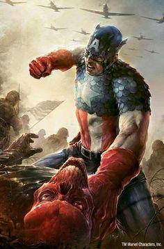 Marvel - Captain America beating the bones out of Red Skull Marvel Comics, Marvel Vs, Marvel Fanart, Comics Anime, Arte Dc Comics, Bd Comics, Marvel Heroes, Punisher Marvel, Daredevil