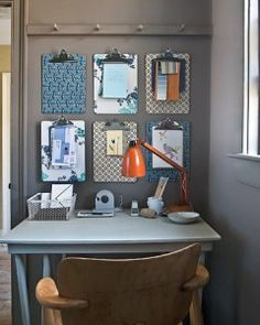 DIY Office Decor: I like the patterned clipboards