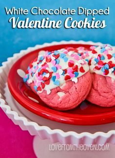 White Chocolate Dipped #Valentine Cookies by Love From The Oven
