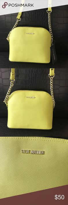 "Steve  Madden lime green crossbody bag Add a pop of color to your outfit with this cute crossbody bag . Height is 7"" and bottom width is 9"" . Top zip closure . Inside has one zip and one slip pocket . Steve Madden Bags Crossbody Bags"