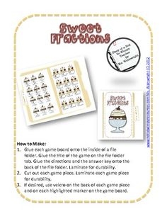 $1.00  A Not So Wimpy File Folder Game: Sweet Fractions