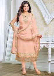 Party Wear Georgette Peach Embroidery Border Work Salwar Kameez
