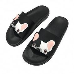 3226a720d42f0 RASMEUP Leather Women s Slippers 2018 Summer Women Open Toe Beach Slippers  Bulldog Seaside Shoes Indoor Home Casual Woman Slides