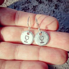 Wine Glass Earrings - Wine Enthusiast Gift - Wine Jewelry - Small Silver Disc Dangle Earrings - Tiny Drop Circle Earrings - Free Gift Box