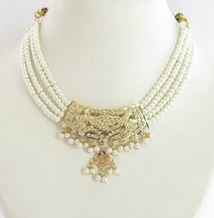 Gold Plated Jadau Pearl Choker Pendant Necklace by Beauteshoppe