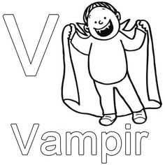 Coloring Letters: Free Coloring Page: V for free as vampire