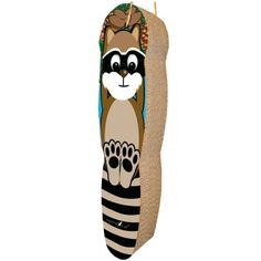 The adorable Raccon hanging scratcher is designed to satisfy a cat's vertical scratching needs. Unique honeycomb surface mimics the feel of tree bark (a texture cats prefer), so kitty will scratch this, and not your expensive home furnishings. Arrives pre-strung for quick and easy hanging from a door knob or other surface.  Made in the USA from recycled paper and 100% recyclable with cardboards after use.