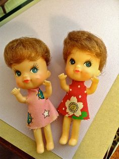 Here are two very unique and lovely vintage Nakajima dolls similar to Chichan or Liddle Kiddles set of 2. In good to excellent condition. These dolls