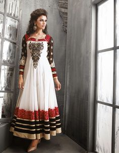 White and Black Resham Work Ankle Length Anarkali