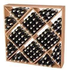 Our Jumbo Bin 120-Bottle Wine Rack is now more durable, more beautiful and more eco-friendly than ever before. Hand-cut and hand-sanded for a remarkably even color and grain. Square shape features dia