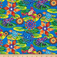 Calypso Frogs Tossed Frogs Blue from @fabricdotcom Designed by Ro Gregg for Fabri-Quilt Fabrics, this cotton print is perfect for quilting and craft projects as well as apparel and home décor accents. Colors include yellow, orange, purple, aqua, blue, green and lime.