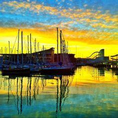 Colorful sunrise on the marina