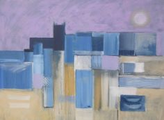 ARTFINDER: Evening Harbour by JAN RIPPINGHAM - A large semi abstract painting in acrylics on canvas. The artwork is signed, has painted edges, and is ready to hang. Sent recorded delivery, to home or plac...