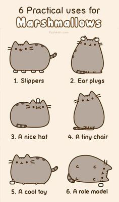 """Ummm hi. Just lost a half hour of my life on this blog - Pusheen the Cat's """"6 Practical Uses for Marshmallows"""" by pusheen #Marshmallows"""