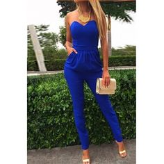 IS THIS REAL LIFE? Only $12???   USD11.99Cheap Sexy Strapless Off The Shoulder Sleeveless Pockets Design Solid Blue Cotton Blend One-piece Skinny Jumpsuit