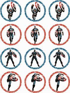 Laine Design: Freebies Captain America Party, Captain America Birthday, Capt America, Superman Party, Superhero Party, Cupcake Toppers Free, Thomas Birthday, Avengers Birthday, Free Printable Stickers