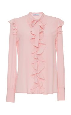 This **Blumarine** Long Sleeve Ruffle Blouse features a high neckline with bow detail, button placket, and cascading ruffle on the bodice and shoulders. Moda Peru, Latest Fashion Clothes, Fashion Outfits, Cute Asian Fashion, Mod Dress, Ruffle Blouse, Bow Blouse, Ruffle Top, Muslim Fashion