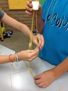 """the """"marshmallow game"""" - teams are asked to build the tallest freestanding structure using only spaghetti, tape, and a marshmallow."""