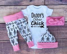 """WORDS ON SHIRT, Daddys Other Chick  ****************************************************** COLOR OF LETTERING ON SHIRT/ONESIE When checking out, put in """"NOTE TO SELLER"""" box what color/colors of lettering you would like. if you do not want to Choose your color/colors, you will be receiving what ever color/colors are on the first picture of this listing. """"""""PLEASE NOTE ALL COLORS WILL LOOK A LITTLE DARKER IF IT IS GOING ON A DARKER SHIRT/ONESIE""""""""…"""