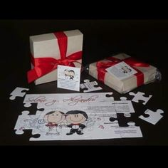 Puzzle invitation, wedding invitation