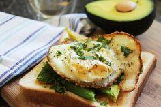 fried egg over avacado toast