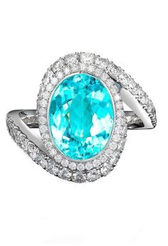 A 3.83ct Brazilian Paraiba tourmaline takes centre stage among a swirl of diamonds in this George Pragnell ring