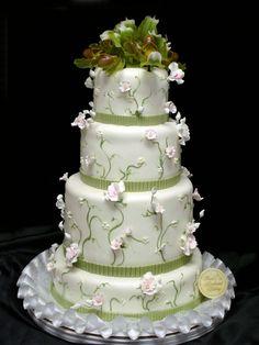 Floral Wedding Cake   Freed's Bakery Las Vegas  