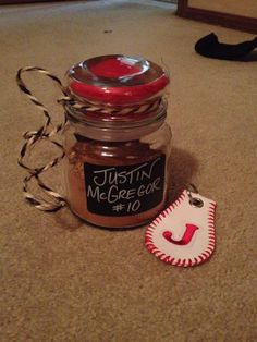 Dirt from field in a jar for a baseball senior night momento