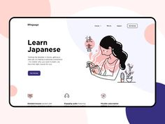 Japanese Courses Landing Page designed by Cuberto. Connect with them on Dribbble; the global community for designers and creative professionals. Website Design Inspiration, Web Design Inspiration, Web Layout, Layout Design, Japanese Course, Website Illustration, Digital Illustration, Ui Web, Landing Page Design