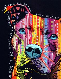 The Thoughtful Pit Bull Quote Wall Art <3 A Dog is the only thing on Earth that Love's you more than you Love Yourself