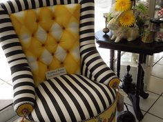 Adorable Striped Chair With Yellow Accent Upholstery. I would add bling to it.. then its perfect!!! VR
