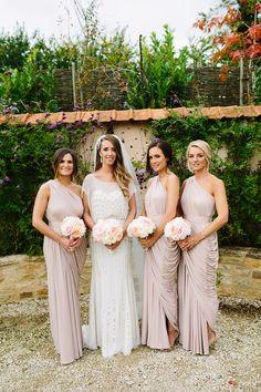 Image by Hayley Savage Photography - Jenny Packham | Pink & Gold Colour Scheme | DIY Ribbon Backdrop | Oxlease Barn | Groom In Jeans | Hayley Savage Photography